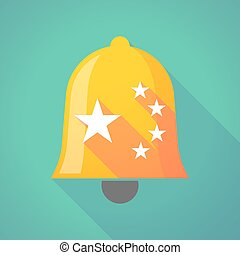 longo, sombra, sino, com, a, cinco, estrelas, bandeira china, símbolo