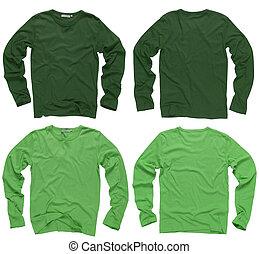 longo, verde, camisas, manga, em branco