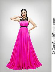 longo, vestido, jovem, modelo moda, em, cor-de-rosa, vestido, alto, cintura, mulher