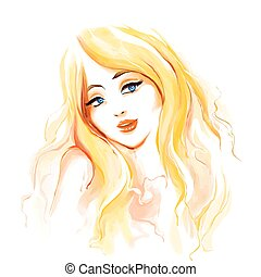 longs cheveux, mode, blond, femme