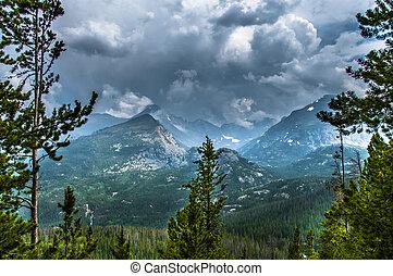 longs, rockies, storm, helft, piek, thattop, berg, mountain-