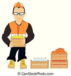 longshoremen, boîtes, fruit, bouteille, unloads, homme