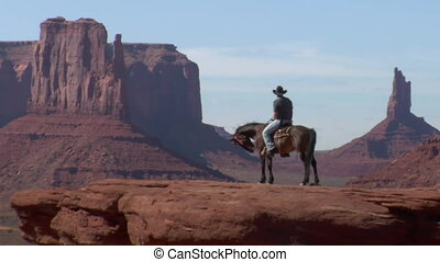 longshot of cowboy and horse in Monument Valley