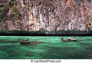 longtail, barcos, turquesa, aguas