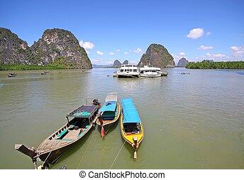 longtail boat, Blue sky at phangnga bay