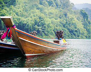 Longtail boats at the pier in Thai