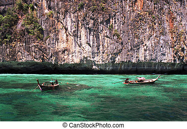 longtail boats in turquoise waters, phi-phi island, phuket,...