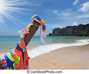 longtail, praia, arenoso, bote