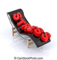 longue chaise, com, relaxe, escrito