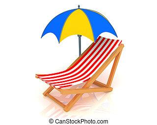 longue chaise, guarda-chuva
