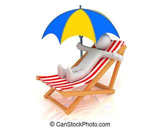 longue chaise, guarda-chuva, pessoa