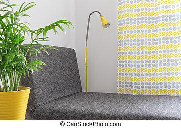 longue chaise, ind, en, moderne, hjem