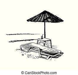 longue chaise, plage, parasol., vue