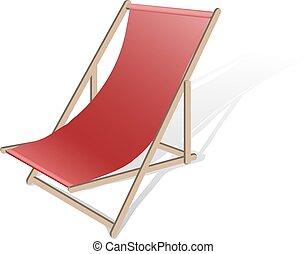 longue chaise, vetorial, praia, ilustração