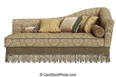 longue, clássicas, isolado, fundo, chaise, branca