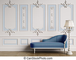 longue, clássicas, space., interior, chaise, cópia