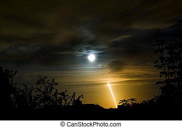 longue exposition, de, lancement nuit, de, navette spatiale,...