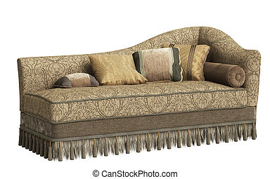 longue, fundo, chaise, isolado, clássicas, branca