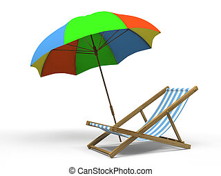 longue, guarda-sol, isolado, fundo, chaise, branca