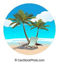 longue, palmas, ilustração, vetorial, chaise, praia