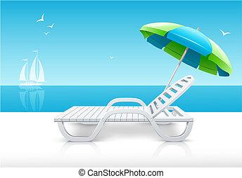 longue, parapluie, côte, mer, chaise, plage