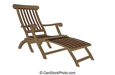 longue, render, madeira, -, chaise, 3d