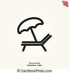 longue, vector, plano de fondo, chaise, blanco, icono