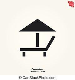 longue, vetorial, fundo, chaise, branca, ícone