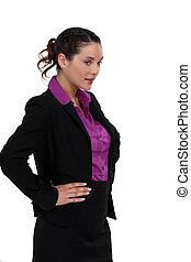 longueur, businesswoman., moitié