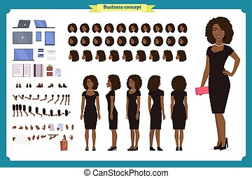 longueur, girl, gestures., gown., robe, création, design., set., branché, vues, construire, noir, entiers, luxe, femme, propre, caractère, soir, différent, ton, fête