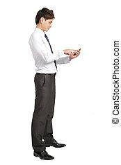 longueur pleine, de, homme affaires, à, intelligent, téléphone