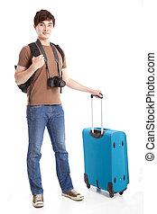 longueur pleine, de, jeune, voyageur, à, valise