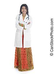 longueur pleine, indien, femme, docteur médical, portrait