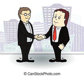longueur pleine, vue côté, de, hommes affaires, secousse, hands., vecteur, illustration