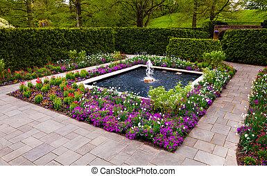 longwood jardine, jardin fontaine, pennsylvania.