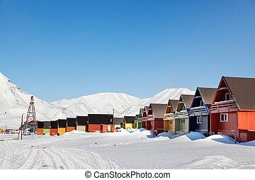 Longyearbyen - A city detail of Spitsbergen, Svalbard,...