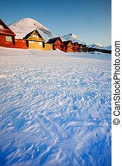 Longyearbyen Sunset - Sunset on Longyearbyen, Norway, the...