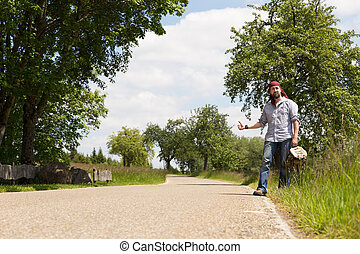 lonly man on a road