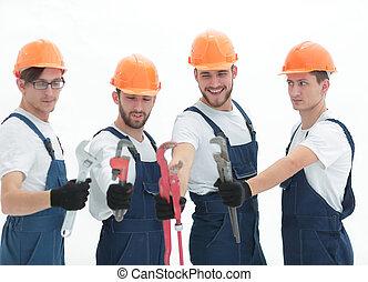 loodgieters, groep, gereedschap, werkende