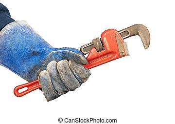 loodgieters, moersleutel, vasthouden, man