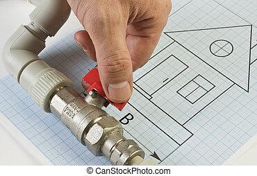 loodgieterswerk, fittings, hand, tekening