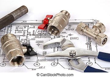 loodgieterswerk, gereedschap, tekening, onderdelen, closeup