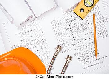 loodgieterswerk, stilleven, bouwsector, werkjes