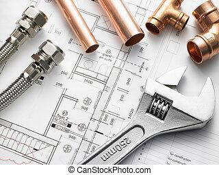 loodgieterswerk, uitrusting, op, woning, plannen