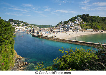 Looe beach and harbour Cornwall