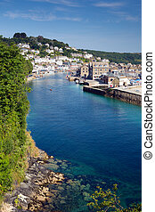 Looe beach and harbour Cornwall uk