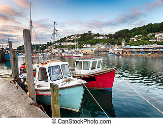 Fishing boats in the harbour at Looe on the south coast of cornwall