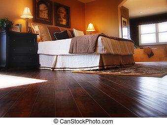 loofhout, bevloering, in, slaapkamer