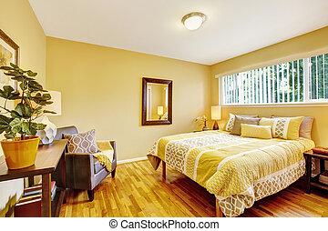 loofhout, floor., gele, tonen, slaapkamer, interieur