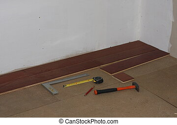 loofhout, gereedschap, installeren, vloer